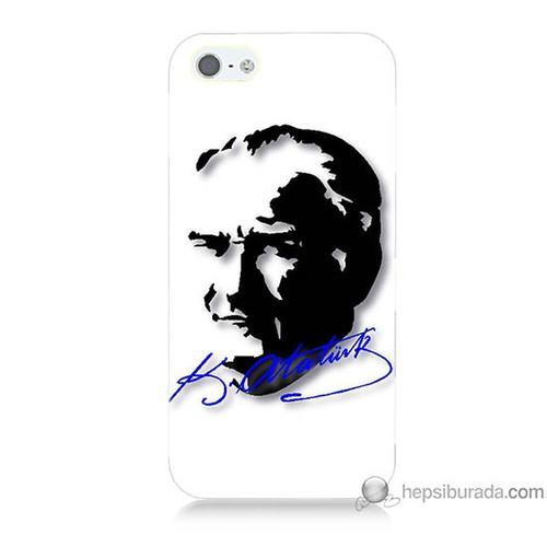 Bordo iPhone 5s Kapak Kılıf Atatürk İmza Mavi Baskılı Silikon