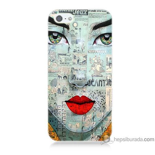 Bordo iPhone 5s Kapak Kılıf Karikatür Yüz Baskılı Silikon