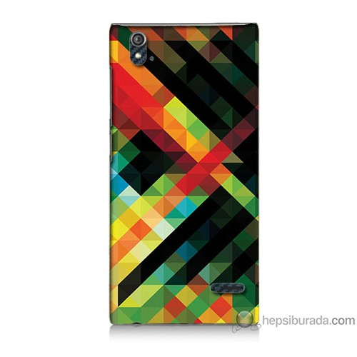 Bordo Turkcell T50 Kapak Kılıf Renkli Çizgiler Baskılı Silikon