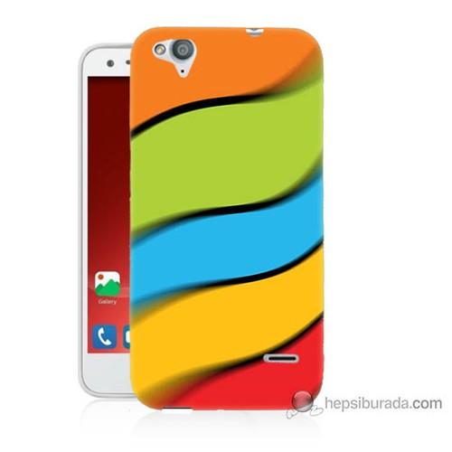 Bordo Turkcell T60 Kapak Kılıf Renkli Kuşaklar Baskılı Silikon