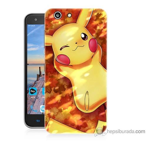 Bordo Turkcell T70 Kapak Kılıf Yatan Pikachu Baskılı Silikon