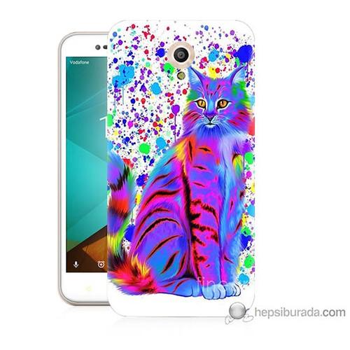 Bordo Vodafone Smart Style 7 Kapak Kılıf Renkli Kedicik Baskılı Silikon