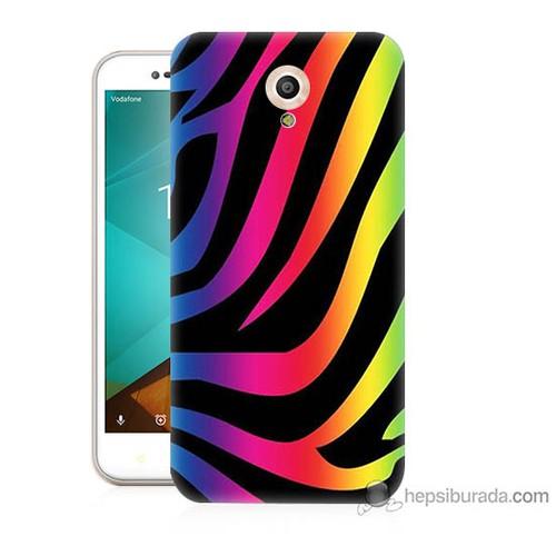Bordo Vodafone Smart Style 7 Kapak Kılıf Renk Cümbüşü Baskılı Silikon