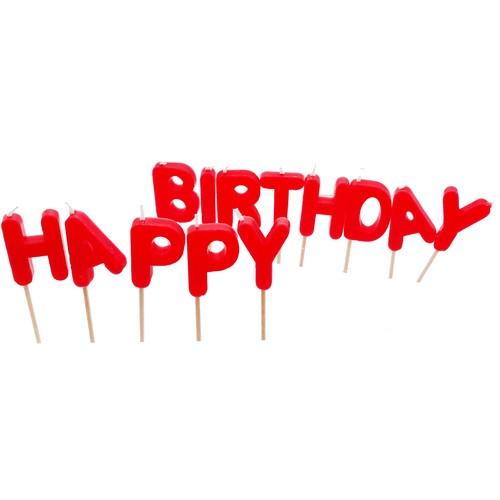 Happy Candle 12'li Happy Birthday Kırmızı Mum Seti mm04