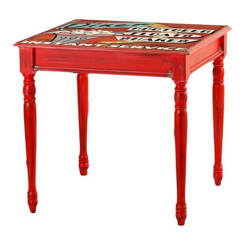 Kozza Home Bristol Masa 70X70 Cm Kırmızı Hl/Dnr Kırmızı Eskitme