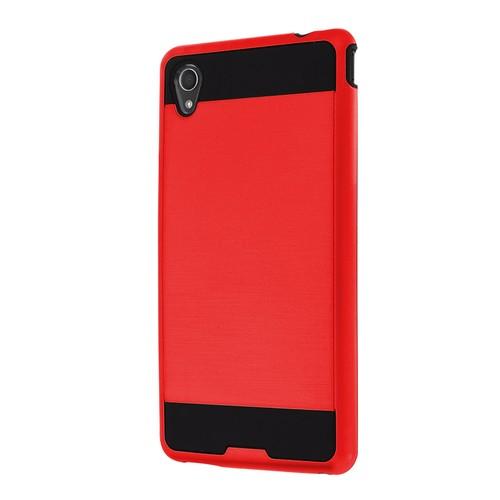 Microsonic Sony Xperia M4 Aqua Kılıf Slim Fit Dual Layer Armor Kırmızı