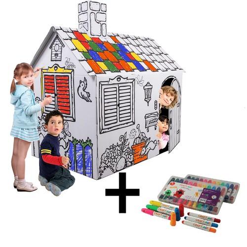 İkisi Bir Arada: Oyun Evi + Craft&Arts Jel Mum Boya 12'Li Set