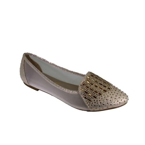 Oflaz Y-16150 Kadın Günlük Simli Taşlı Babet Ayakkabı