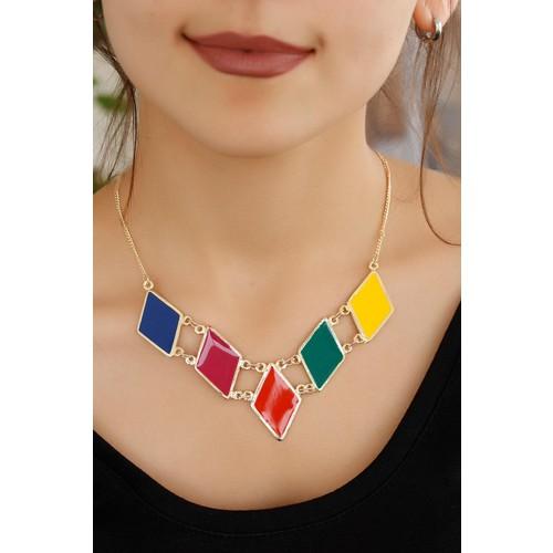 Morvizyon Renkli Aksesuar Tasarımlı Bayan Kolye