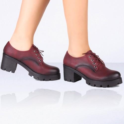 İnce Topuk Bordo Kısa Topuklu Ayakkabı