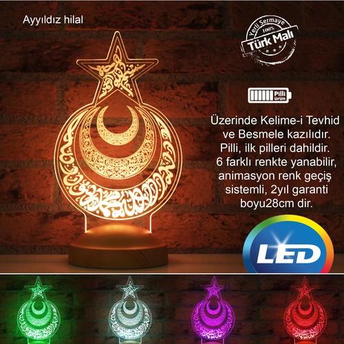 GLAMP 3D LED AYYILDIZ HİLAL GECE LAMBASI
