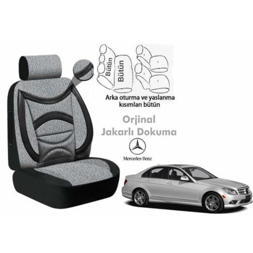 Süslenoto Mercedes C Serisi Sedan 2007-2011 Füme Siyah Oto Koltuk Kılıfı Ortopedik