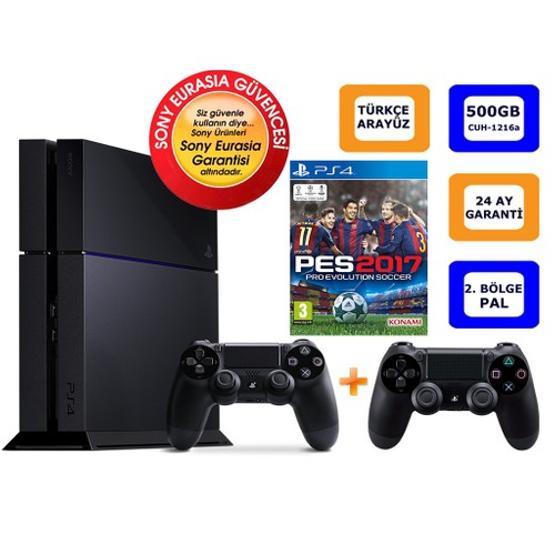 Sony Ps4 500Gb + Pes 2017 + 2. Kol (Cuh-1216A) Eurasıa