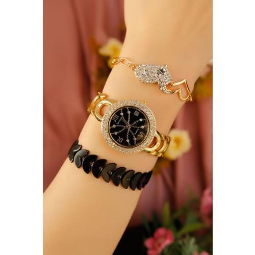 Çınar E-Ticaret Sarı Kaplama Metal Kordonlu Bayan Saat Ve Bileklik Kombini
