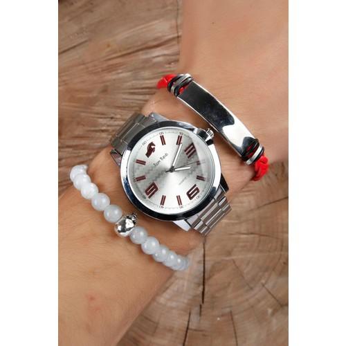 Çınar E-Ticaret Gri Metal Kordonlu Erkek Saat Ve Deri Çelik&Boncuklu Bileklik Kombini