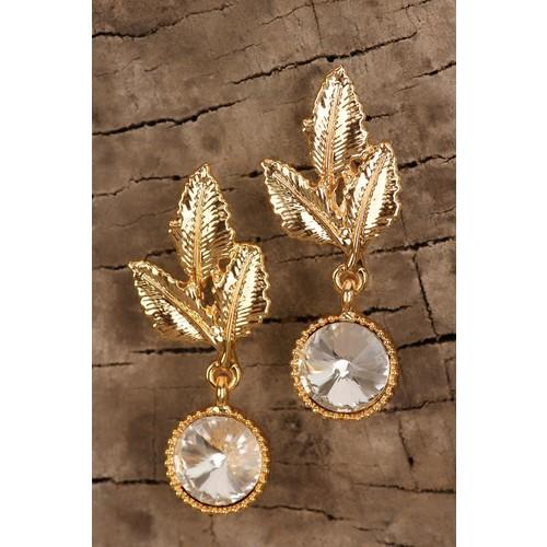 Çınar E-Ticaret Sarı Kaplama Kristal Taşlı Yaprak Figürlü Bayan Küpe