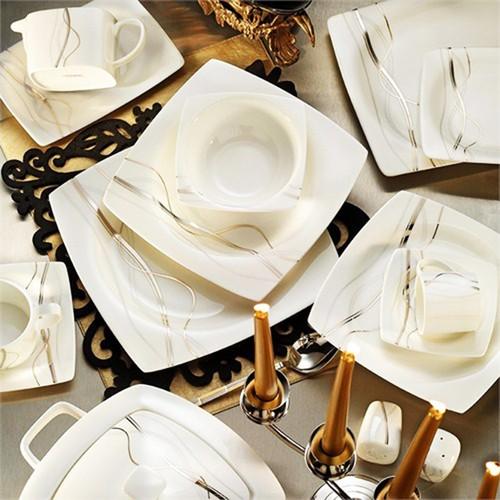 Kütahya Porselen Aliza Bone 12 Kişilik 83 Parça 60101 Desenli Yemek Takımı