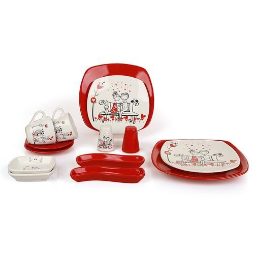 Keramika Set Tatlı Düş Köşem Kahvaltı Seti Kırmızı 14 Parça