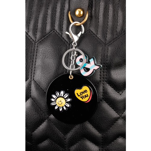 Çınar E-Ticaret Siyah Love Sticker Desenli Aynalı Anahtarlık