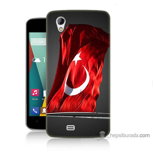 Teknomeg General Mobile Discovery 2 Mini Kapak Kılıf Türk Bayrağı Baskılı Silikon