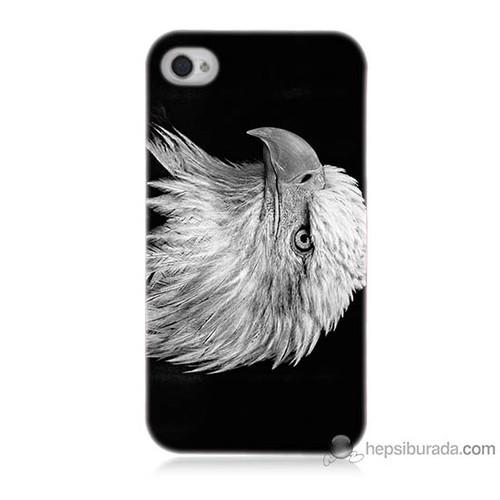 Teknomeg iPhone 4 Kapak Kılıf Kara Kartal Baskılı Silikon