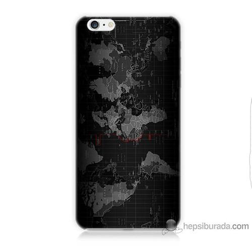 Teknomeg iPhone 6 Plus Kapak Kılıf Harita Baskılı Silikon