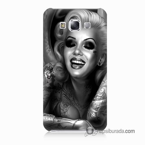 Teknomeg Samsung Galaxy E7 Kapak Kılıf Marilyn Monroe Baskılı Silikon