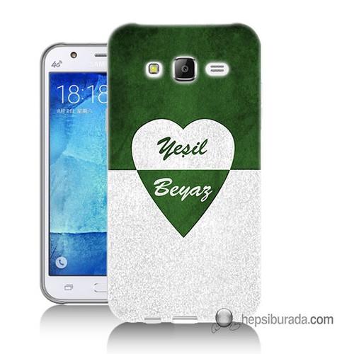 Teknomeg Samsung Galaxy J1 Ace Kapak Kılıf Yeşil Beyaz Baskılı Silikon