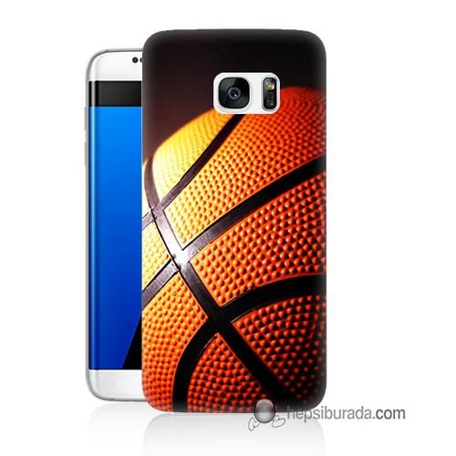 Teknomeg Samsung Galaxy S7 Edge Kapak Kılıf Basketbol Baskılı Silikon