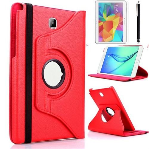 Kılıfland Samsung Galaxy Tab A T550 Kılıf 360 Standlı Kırmızı+Film+Kalem