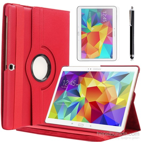 Kılıfland Samsung Galaxy Tab S T700 Kılıf 360 Standlı Kırmızı+Film+Kalem