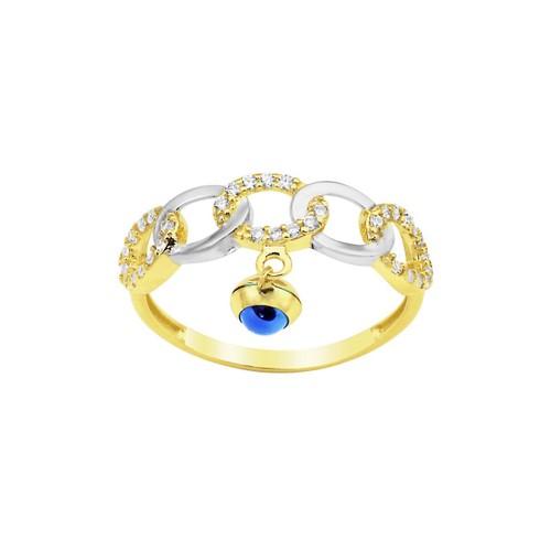 Melis Gold Altın Taşlı Nazar Noncuklu Yüzük Ay0000308