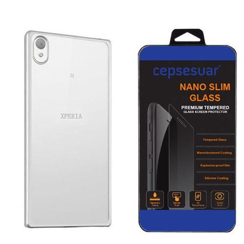 Cepsesuar Sony Xperia XA Kılıf Silikon Lazer Gümüş + Kırılmaz Cam