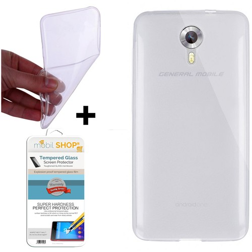 Mobil Shop General Mobile Android One 4G Kılıf 0.2MM Silikon (Kırılmaz Cam)