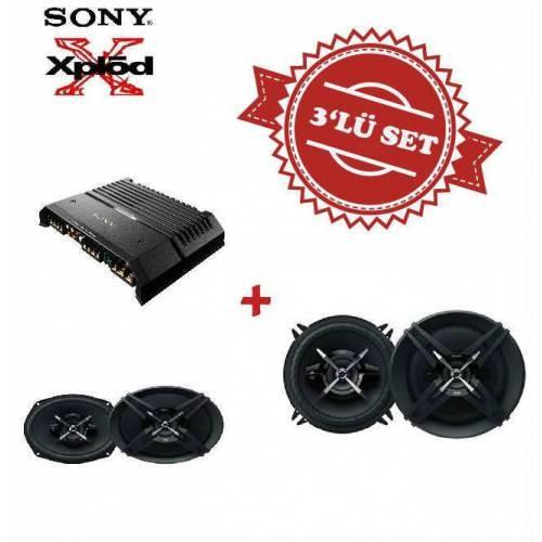 Sony XM-GS4 4 kanal Amfi ile Mega Bass XS-XB690 6x9 Oval ve XS-XB130 13cm Hoparlör Set