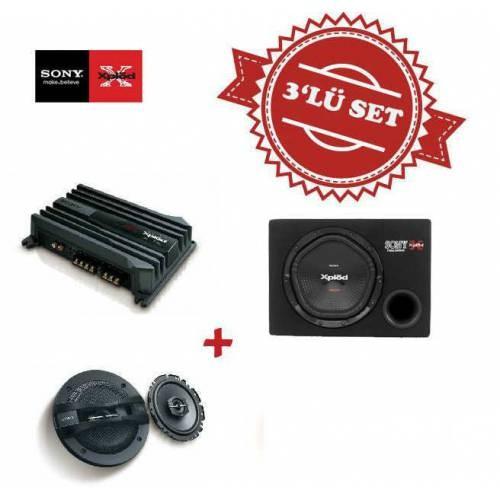 Sony XM-N502 2 yollu Amfi ile XS-NW1200E Kabinli Subwoofer XS-GT1338F 13cm Hoparlör
