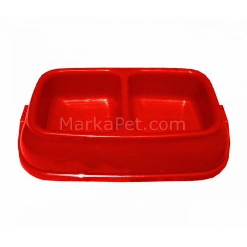 PetStyle Parlak Renkli İkili Kedi Köpek Mama Su Kabı 250 Ml. Kırmızı