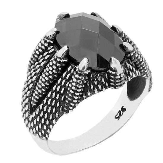 Chavin Ufak Pençe Model Siyah Zirkon Taşlı Gümüş Erkek Yüzük ca67