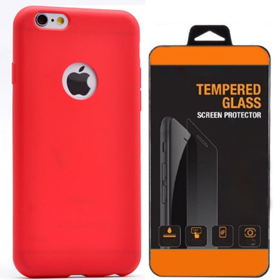 Exclusive Phone Case İphone 6 6S Plus Kılıf Mat Silikon +Tempered Glass
