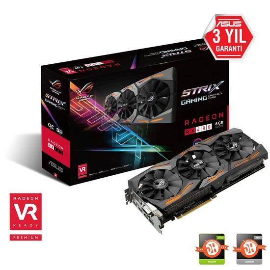 Asus ROG STRIX Amd Radeon RX 480 8GB OC 256Bit GDDR5 (DX12) PCI-E 3.0 Ekran Kartı STRIX-RX480-O8G- Gaming