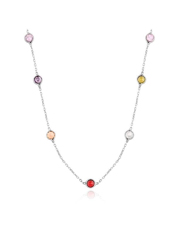 Chavin Tiffany Sıra Taşlı Kalın Uzun Zincir Gümüş Kolye db71