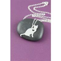 Crystal Baby Gümüş Özel Tasarım Kalpli Kedi Kolyesi