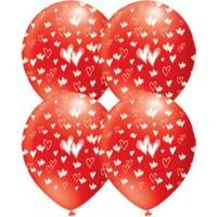 Parti Şöleni Kalp Baskılı Kırmızı Balon 20 Adet