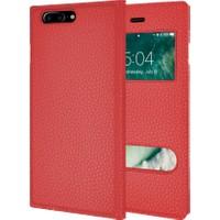 Microsonic İphone 7 Plus Kılıf Dual View Gizli Mıknatıslı Kırmızı