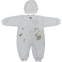 Sebi Bebe 52307 Kadife Kalpli Ayılı Patiksiz Bebek Tulumu Kahverengi