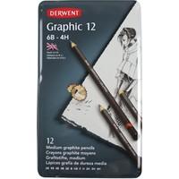 Derwent Graphic Dereceli Kalem Seti Medium Designer Teneke Kutu 12'Li