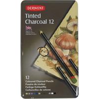 Derwent Tinted Charcoal Renkli Kömür Füzen Seti Teneke Kutu 12 Renk