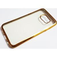 Mobillife Samsung Galaxy S7 Edge Gold Kenar Yumuşak Silikon Şeffaf Kılıf