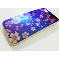 Mobillife Apple İphone 5/5S Mavi Çiçekli Silikon Kılıf