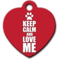 Dalis Pet Tag - Keep Calm And Love Me Kalp Kedi Köpek Künyesi